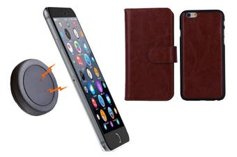Magnetic Quick Snap Car Mount Leather Credit Card Case Holder Iphone 6+ Plus - Brown