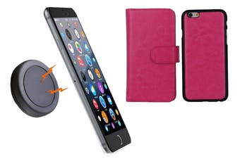 Magnetic Quick Snap Car Mount Leather Credit Card Case Holder Iphone 6+ Plus - Pink