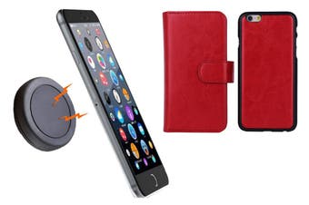 Magnetic Quick Snap Car Mount Leather Credit Card Case Holder Iphone 6+ Plus - Red