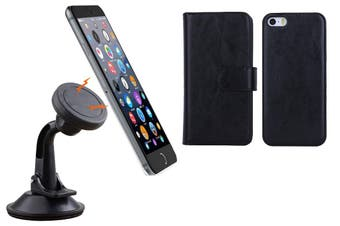Magnetic Quick Snap Car Suction Mount Leather Credit Card Case Iphone 6+ Plus - Black