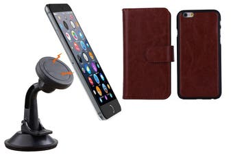Magnetic Quick Snap Car Suction Mount Leather Credit Card Case Iphone 6+ Plus - Brown