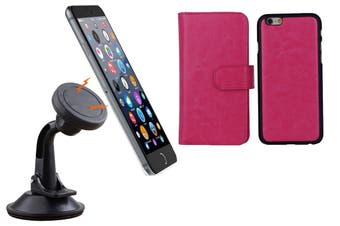 Magnetic Quick Snap Car Suction Mount Leather Credit Card Case Iphone 6+ Plus - Pink