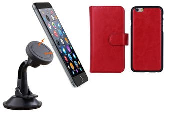Magnetic Quick Snap Car Suction Mount Leather Credit Card Case Iphone 6+ Plus - Red