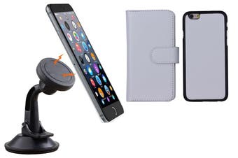 Magnetic Quick Snap Car Suction Mount Leather Credit Card Case Iphone 6+ Plus - White