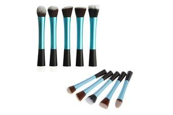 5 Piece Professional Duo Fiber Makeup Brush Set Multi Task Brush Blue