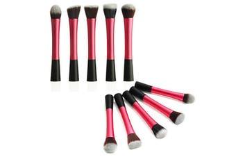 5 Piece Professional Duo Fiber Makeup Brush Set Multi Task Brush Pink