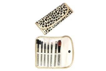 7 Piece Professional Makeup Brush Set + Carry Case Bag Leopard Print