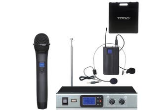 Wireless Microphone Vhf Dual Channel Handheld + Headset Mic Case Tc-Hl28A