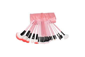 24 Pc High Quality Micro Fiber Brush Set Carry Case Rose Pink