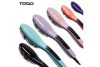 Ceramic Tourmaline Ionic Hair Brush Straightener Iron Anti Frizz Comb Rose Quartz