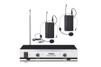 Wireless Headset Microphone Vhf Dual Channel Twin Head Mic Tjp-Ll61