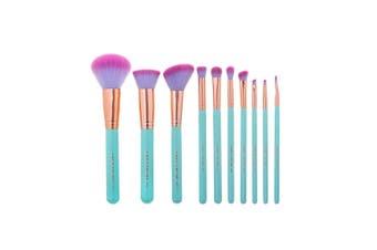 10 Piece Professional Makeup Brush Set Soft Synthetic Unicorn Blue