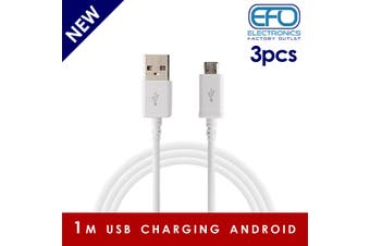 3Pc 1M Usb Charging Cable Micro Usb Connector For Samsung Htc Sony Windows 3X