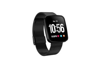 "Bluetooth V4.0 Smart Watch Heart Rate Blood Pressure Ip67 0.96"" Oled - Black Metal"
