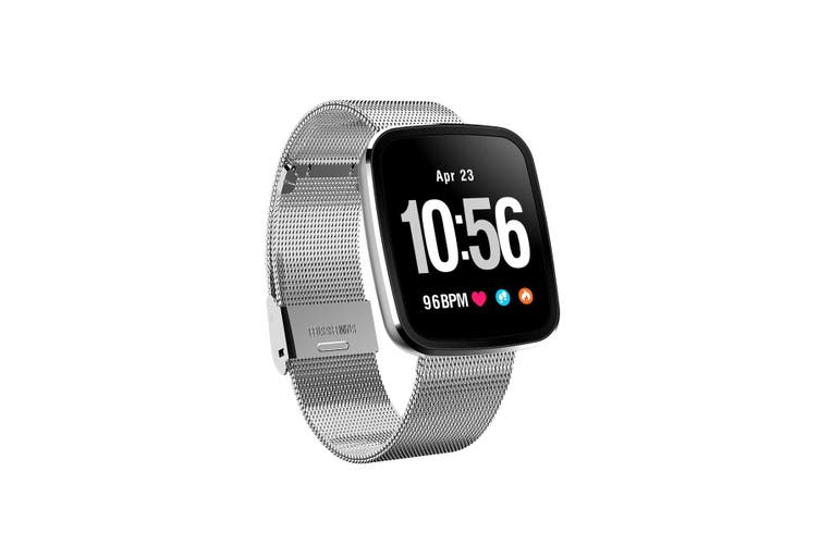 "Bluetooth V4.0 Smart Watch Heart Rate Blood Pressure Ip67 0.96"" Oled - Silver Metal"