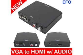 Vga To Hdmi Video Converter + Stereo Audio (Rca) 1280 X 1024  Resolution Support