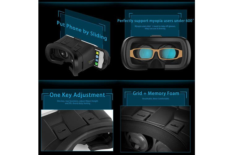 "3D Google Glasses Cardboard 2Nd Gen Vr Box Virtual Reality Headset 3.5""-6"" Phone"