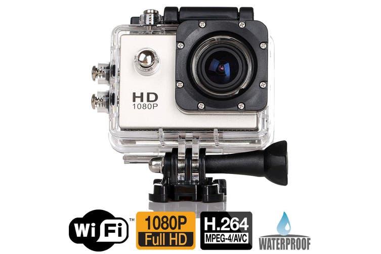"""Full Hd 1080P Sports Dv Camera 30M Waterproof + Wifi 1.5"""" Lcd Mount Silver"""