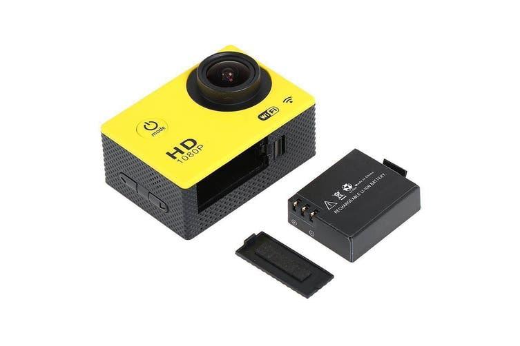 "Full Hd 1080P Sports Dv Camera 30M Waterproof + Wifi 1.5"" Lcd Mount Yellow"