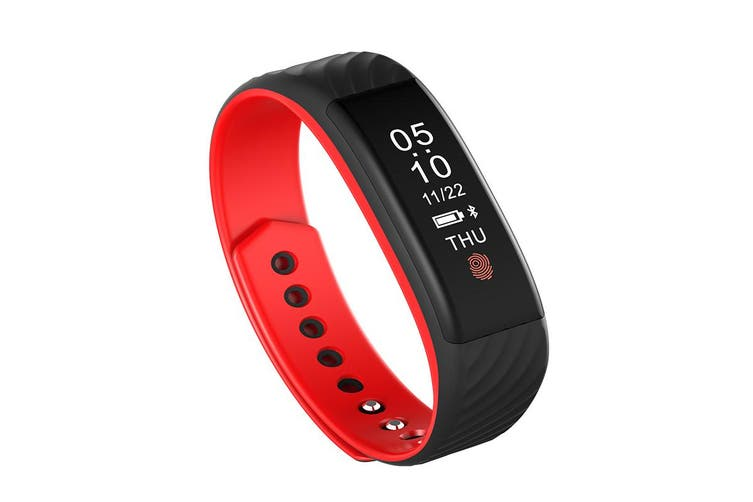Bluetooth V4.0 Fitness Tracker Watch Rechargeable Heart Rate Monitor Ip67 Red