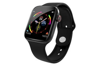 "Bluetooth V4.0 Smart Watch Heart Rate Blood Pressure Oxygen 1.3"" IPS LCD IP67 - Black"