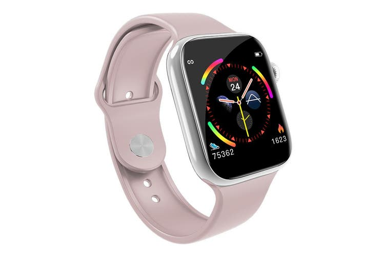 """Bluetooth V4.0 Smart Watch Heart Rate Blood Pressure Oxygen 1.3"""" IPS LCD IP67 - Pink"""
