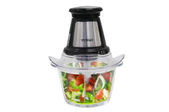 1.2L Food Chopper Processor 250W Glass Bowl Dual Blade Black