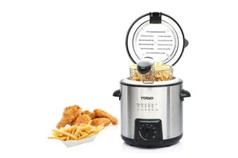 0.9L Deep Fryer Adjustable Thermostat Dial Stainless Steel Housing Basket