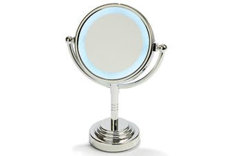"5"" Led Backlit Make Up Mirror Double Side 1X / 3X Magnification Battery Silver"