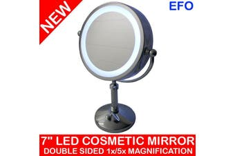 "7"" Led Backlit Cosmetic Make Up Mirror 1X / 5X Magnification Battery Powered"