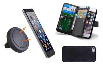 Magnetic Quick Snap Car Air Vent Mount Leather Wallet Case Iphone 6 / 6 Plus