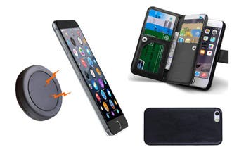 Magnetic Quick Snap Car Mount Leather Wallet Card Case Holder Iphone 6 / 6 Plus