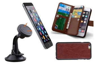 Magnetic Quick Snap Car Suction Mount Leather Credit Card Case Iphone 6 - Brown