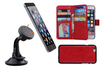 Magnetic Quick Snap Car Suction Mount Leather Credit Card Case Iphone 6 - Red