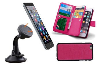 Magnetic Quick Snap Car Suction Mount Leather Credit Card Case Iphone 6 Plus - Pink