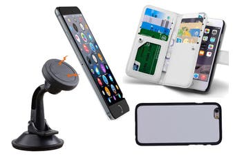 Magnetic Quick Snap Car Suction Mount Leather Credit Card Case Iphone 6 Plus - White