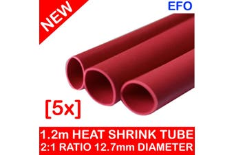 12.7Mm Red Heat Shrink Tube 2:1 Ratio (6.4Mm) 1.2M Cut Length Thin Wall [5 Pack]