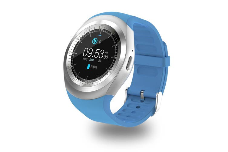 """Bluetooth V3.0 Smart Watch 1.54"""" Ips Lcd Rechargeable Bt Sync Android - Blue"""