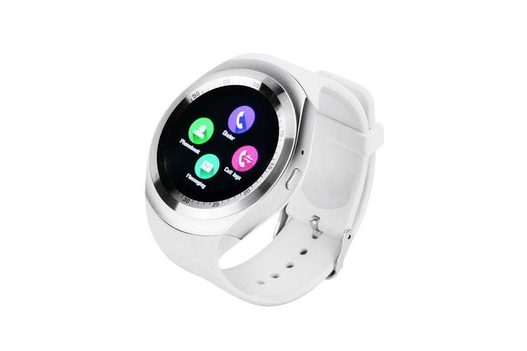 "Bluetooth V3.0 Smart Watch 1.54"" Ips Lcd Rechargeable Bt Sync Android - White"