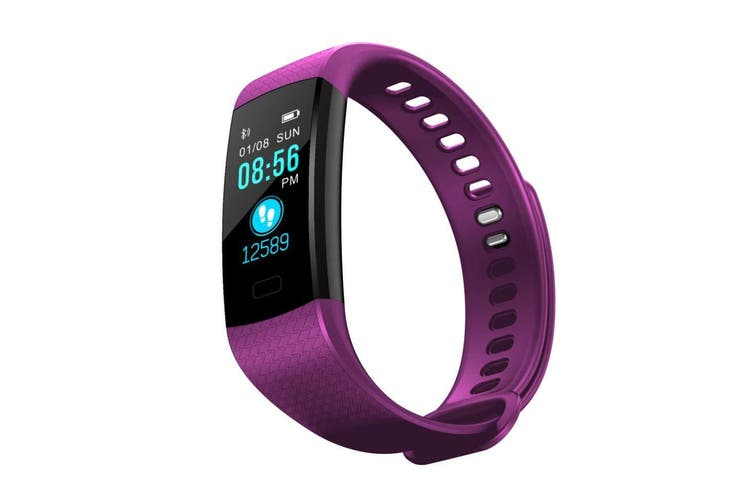 """Bluetooth V4.0 Fitness Band Watch Heart Rate Blood Oxygen Ip67 0.96"""" Oled - Purple"""