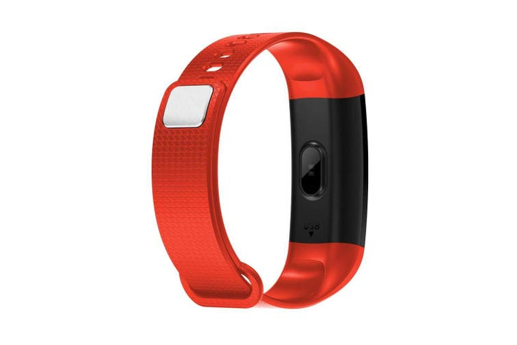 "Bluetooth V4.0 Fitness Band Watch Heart Rate Blood Oxygen Ip67 0.96"" Oled - Red"