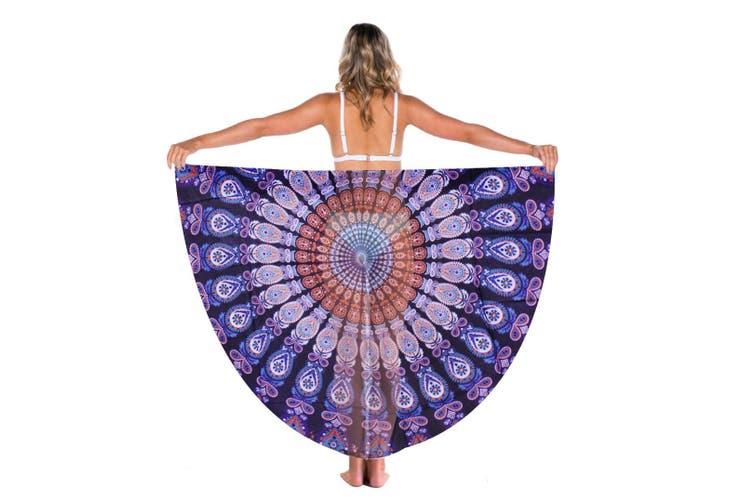 TODO Luxury Edition Chiffon Digital Print Beach Throw Yoga Indigo