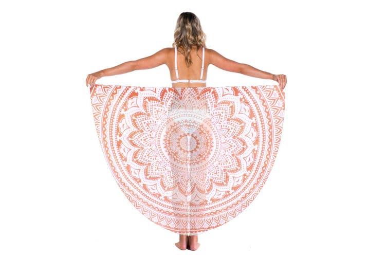 TODO Luxury Edition Chiffon Digital Print Beach Throw Yoga Mandarin Orange