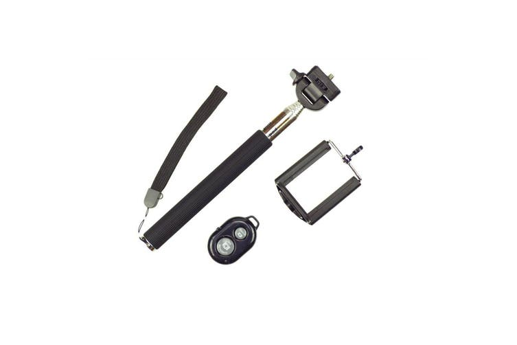 Bluetooth Remote Control Extendable Selfie Stick Monopod For Iphone Samsung Black