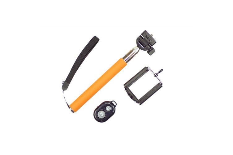 Bluetooth Remote Control Extendable Selfie Stick Monopod For Iphone Samsung Orange