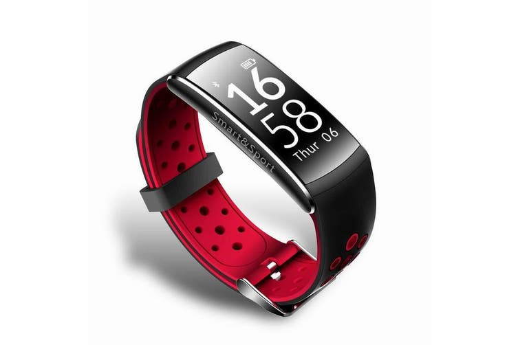 "Bluetooth V4.0 Smart Watch 0.96"" Oled Heart Rate Blood Pressure Ip68 Red"