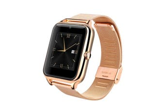 """Bluetooth V3.0 Smart Watch 1.54"""" Tft Lcd Rechargeable Anti Lost Call - Gold"""