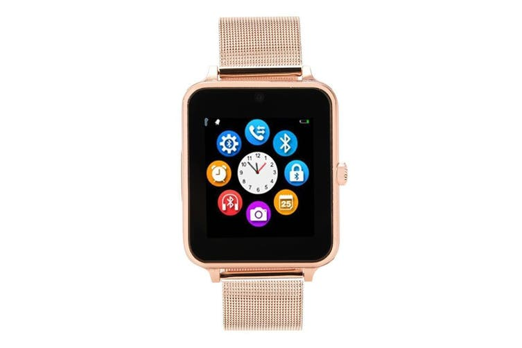 "Bluetooth V3.0 Smart Watch 1.54"" Tft Lcd Rechargeable Anti Lost Call - Gold"