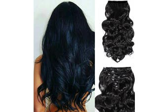 """24"""" Wavy Thick Black Curly Synthetic Hair Extension 7Piece 16Clips"""