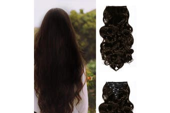 "24"" Wavy Curly High Synthetic Hair Extension Medium Brown 7Piece 16Clips 01"
